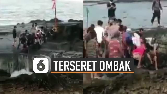 Aksi heroik dilakukan oleh petugas yang sedang berjaga dan juga masyarakat ketika menyelamatkan pengunjung yang terseret ombak di Kawasan Karanghawu Cisolok, Sukabumi.