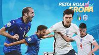Piala Eropa - Euro 2020 Italia Vs Inggris - Giorgio Chiellini, Manuel Locatelli, Harry Maguire, Declan Rice (Bola.com/Adreanus Titus)
