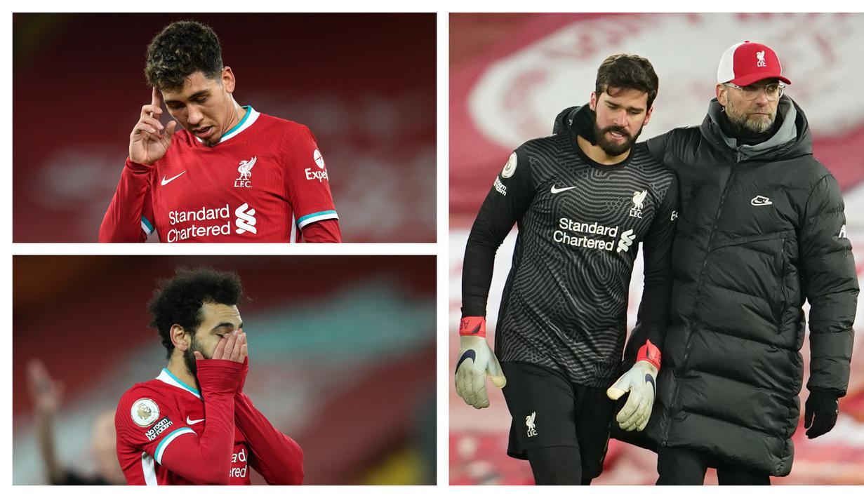 Berbagai ekspresi dari skuad Liverpool terekam di tengah dan di akhir pertandingan saat kalah 0-1 dari Burnley dalam laga lanjutan Liga Inggris 2020/21, Kamis (21/1/2021) yang menandai putusnya rekor 68 laga tak terkalahkan di Anfield Stadium. (Kolase Foto AFP)