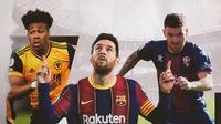 Adama Traore, Lionel Messi dan Javi Galan. (Bola.com/Dody Iryawan)