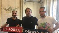 Davide Zapacosta dan Marko Pjaca resmi bergabung ke Genoa sebagai pemain pinjaman. (Dok. Twitter/Genoa)