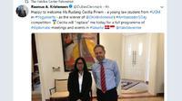 Mahasiswi UGM, Rudang Cecilia Pinem, dan Duta Besar Denmark untuk Indonesia, Rasmus Abildgaard Kristensen. (Twitter/@DubesDenmark/@The Habibie Center)