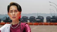 Banner Infografis Penangkapan Aung San Suu Kyi dan Kudeta Militer Myanmar. (Sumber Foto: AFP dan AP Photo)