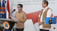 Menparekraf Wishnutama dan Kepala Gugus Tugas Penanganan Corona Doni Monardo dalam jumpa pers di Jakarta, Sabtu (28/3/2020). (dok. Screenshoot Youtube BNPB Indonesia/Dinny Mutiah)
