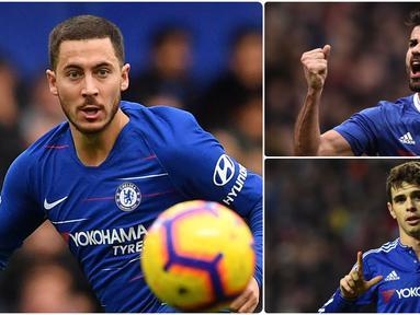 Eden Hazard menjadi salah satu penjualan termahal yang dilakukan Chelsea, pemain asal Belgia ini dipinang Real Madrid dengan transfer mencapai 100 juta euro. Berikut Eden Hazard dan penjualan termahal pemain oleh Chelsea. (kolase foto AFP)