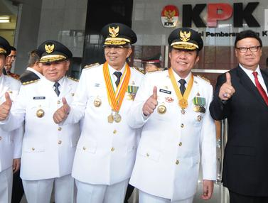 Gubernur dan Wagub Terpilih Sumsel Serta Kaltim Sambangi KPK