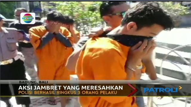 Jambret meresahkan yang kerap menyasar korban turis asing di Bali, akhirnya berhasil diringkus petugas.