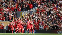 James Milner celebrates scoring the first goal for Liverpool Action Images via Reuters / Carl Recine