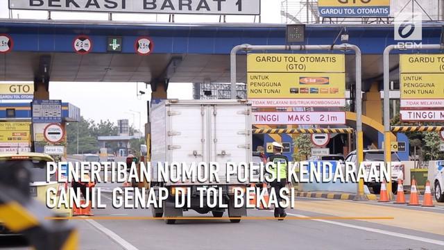Penilangan ganjil genap di pintu tol Bekasi yang seharusnya dimulai hari ini, ditunda oleh pihak kepolisian.