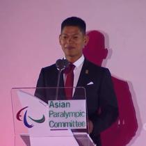 Ketua Panitia Asian Para Games 2018 Raja Sapta Oktohari memberi sambutan pada upacara pembukaan. (Vidio.com)
