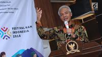 Gubernur Jateng, Ganjar Pranowo memberi sambutan jelang MoU Festival HAM Indonesia di Jakarta, Rabu (3/10). Acara ini bertema Merawat Keberagaman, Memperkuat Solidaritas Menuju Indonesia yang Inklusif dan Keberkeadilan. (Liputan6.com/Helmi Fithriansyah)