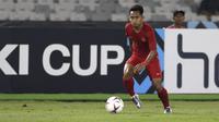 Gelandang Timnas Indonesia, Andik Vermansah, menggiring bola saat melawan Timor Leste pada laga Piala AFF 2018 di SUGBK, Jakarta, Selasa (13/11). Indonesia menang 3-1 atas Timor Leste. (Bola.com/Yoppy Renato)