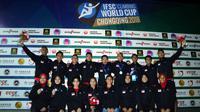 Timnas panjat tebing Indonesia berfoto bersama usai Kejuaraan Dunia di Chongqing, Tiongkok. (Biro Humas PP FPTI)