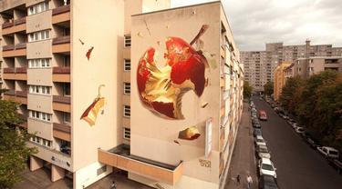 Lukisan dinding pada salah satu gedung di Berlin, Jerman