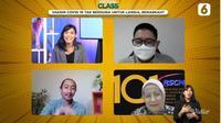 Dari kiri ke kanan, host Nadya Laras, dr. Dirga Sakti Rambe, M.Sc, Sp.PD, Fact Checker Liputan6.com, Pebrianto Eko W, dan Prof. Dr.dr. Siti Setiati SpPD, KGer, MEpid, dalam acara Virtual Class Liputan6.com, Selasa (30/3). (Istimewa)