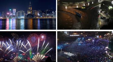 Gambar kombo menunjukkan Pelabuhan Victoria pada Malam Tahun Baru tahun 2020 dan 2021 di Hong Kong (kiri) dan Bundaran Hotel Indonesia di Jakarta, tempat populer untuk perayaan malam tahun baru pada tahun 2020 dan 2021. (AP Photo/Kin Cheung)- (AP Photo/Dita Alangkara, Tatan Syuflana)