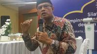 Ketua Umum PP Muhammadiyah Haedar Nashir menyampaikan dua pesan perdamaian Idul Fitri 1440 H (Liputan6.com /Switzy Sabandar)