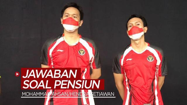 Berita video ganda putra Indonesia, Mohammad Ahsan / Hendra Setiawan memberi jawaban terkait pensiun setelah belum berhasil mempersembahkan medali di Olimpiade Tokyo 2020.