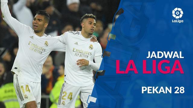 Berita video jadwal La Liga 2019-2020 pekan ke-28. Real Madrid ditantang Eibar, Sabtu (14/3/2020) di Santiago Bernabeu, Madrid.