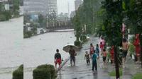 Banjir di Kota Pangkalpinang, Bangka Belitung. (Twitter/@SonoraFM92)