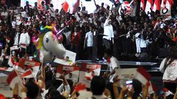 Capres nomor urut 01 Joko Widodosaat menghadiri Konvensi Rakyat di Sentul Internasional Convention Center, Bogor, Jawa Barat, Minggu (24/2). Konvensi Rakyat mengangkat optimis Indonesia maju. (Liputan6.com/Herman Zakharia)