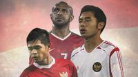 Timnas Indonesia - Kapten Timnas Indonesia: Boaz Solossa, Bambang Pamungkan, Ponaryo Astaman (Bola.com/Adreanus Titus)