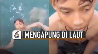 Bocah tersebut kebingungan arah saat berenang karena tak melihat daratan.