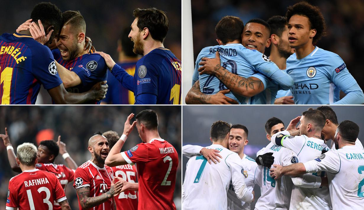 Berikut ini delapan klub yang berhasil melaju ke perempat final Liga Champions musim 2017/2018. Jadwal pengundian babak delapan besar ini akan dilangsungkan pada Jumat (16/3/2018). (Kolase foto-foto dari AFP)