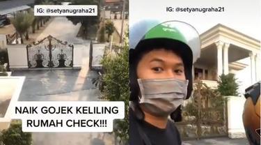 viral video pria keliling rumah naik gojek