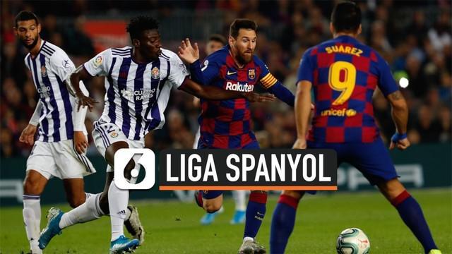 Barcelona raih tiga poin usai menang 5-1 atas tamunya Real Valladolid pada lanjutan pertandingan La Liga Spanyol di Camp Nou, Kamis (31/10/19).