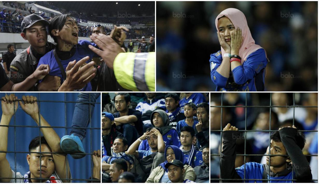 Para suporter Persib Bandung tak mampu menyembunyikan kekecewaan usai klub kesayangannya gagal di Piala Presiden 2018. Pasukan Maung Bandung tersebut tersingkir di fase grup.