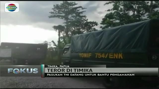 Guna mengamankan lokasi di Tembagapura, Timika, dari gangguan kelompok kriminal bersenjata, puluhan anggota TNI disiagakan.