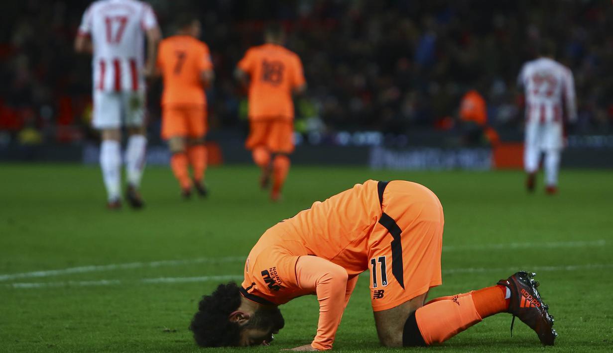 FOTO Mohamed Salah Memukau Liverpool Gulung Stoke Inggris Bolacom
