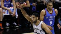 Tim Duncan bawa Spurs kalahkan Oklahoma City Thunder (AFP/Chris Covatta)