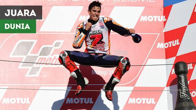 Berita video momen Marc Marquez menjadi juara dunia MotoGP 2018 di Sirkuit Motegi, Jepang, setelah sempat berduel dengan Andrea Dovizioso saat balapan, Minggu (21/10/2018).