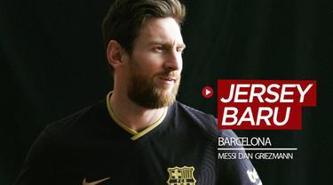 Berita video penampilan Lionel Messi dan Antoine Griezmann saat sesi pemotretan dengan jersey hitam Barcelona untuk musim 2020-2021.