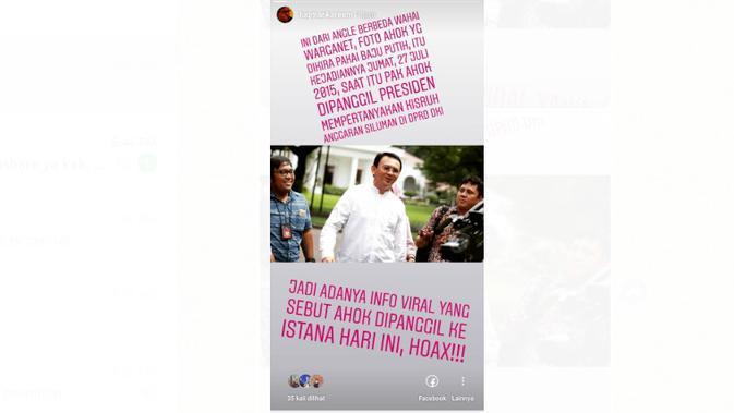 [Cek Fakta] Viral Foto Ahok Pakai Kemeja Putih di Istana, Ini Faktanya