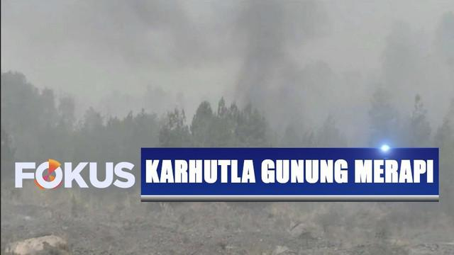 Kebakaran kembali terjadi di Taman Nasional Gunung Merapi, perbatasan Magelang dan Yogyakarta diselimuti kabut tebal.