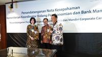 Bank Mandiri akan menyediakan solusi perbankan untuk memenuhi berbagai kebutuhan pegawai Kemenko Perekonomian. Dok Merdeka.com/Anggun P Situmorang