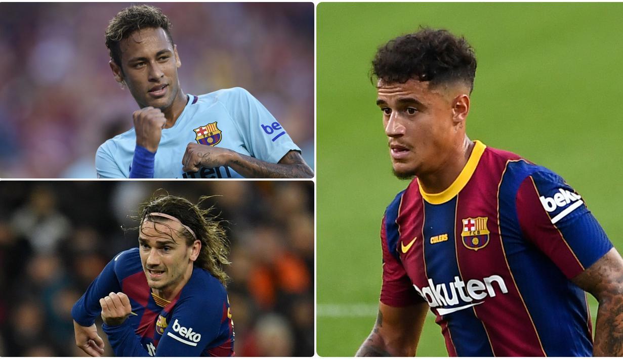 Barcelona memiliki catatan transfer luar biasa saat melabuhkan Philippe Coutinho dari Liverpool. Selain Coutinho ada beberapa pemain lain yang didatangkan Barcelona dengan nilai transfer tinggi. Berikut Coutinho dan 5 pemain termahal Barcelona sepanjang masa. (kolase foto AFP)
