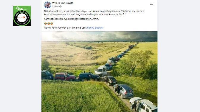 Cek Fakta Liputan6.com menelusuri klaim foto kemacetan di jalan tikus saat mudik