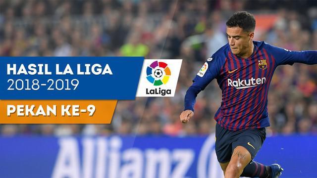 Berita video hasil La Liga 2018-2019 pekan ke-9, Real Madrid kalah tipis 1-2 dari Levante, Barcelona menang 4-2 atas Sevilla.