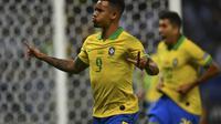 Penyerang Brasil, Gabriel Jesus, melakukan selebrasi seusai mencetak gol ke gawang Argentina, pada semifinal Copa America 2019, di Stadion Mineirao, Belo Horizonte, Brasil, Rabu (3/7/2019) pagi WIB.  (FOTO / Pedro Ugarte)