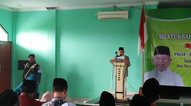 Cawapres Ma'ruf Amin di kantor PWNU Banten, Kota Serang, Banten, Sabtu (27/04/2019). (Foto: Yandhi Deslatama/Liputan6.com)