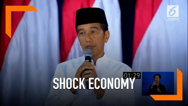 Mendengar solusi ekonomi yang dipaparkan Prabowo, Jokowi menyebut paparan tersebut bisa sebabkan Indonesia sebabkan 'shock economy'.