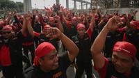 Para buruh akan bergerak bersama dari Bundaran HI ke Istana Negara. (Liputan6.com/Faizal Fanani)