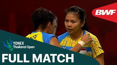 Berita video full match Greysia Polii / Apriyani Rahayu saat mengalahkan ganda Malaysia, Pearly Tan / Thinaah Muralitharan, pada perempat final Thailand Terbuka 2021, Jumat (15/1/2021).