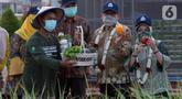 Menteri Desa PDT dan Transmigrasi, Abdul Halim Iskandar menunjukkan hasil pertanian di Edu Park Semen Gresik, Rembang (17/9/2021). Edupark yang merupakan anak usaha dari PT Semen Indonesia Tbk (SIG) ini dikelola oleh Badan Usaha Milik Desa (BUMDes) Mbangun Deso (Liputan6.com/HO/Wening PDT)
