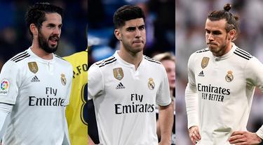 Real Madrid tampil mengecewakan usai ditinggal Cristiano Ronaldo sejak awal musim 2018/19. Alhasil Real Madrid meski merombak skuat yang ada. Beberapa pemain sebaiknya meninggalkan Real Madrid dan berlabuh ke Premier League. (AFP/Kolase Foto AFP)