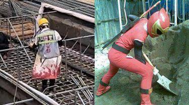 6 Kostum Kuli Bangunan saat Bekerja Ini Anti-Mainstream, Kocak